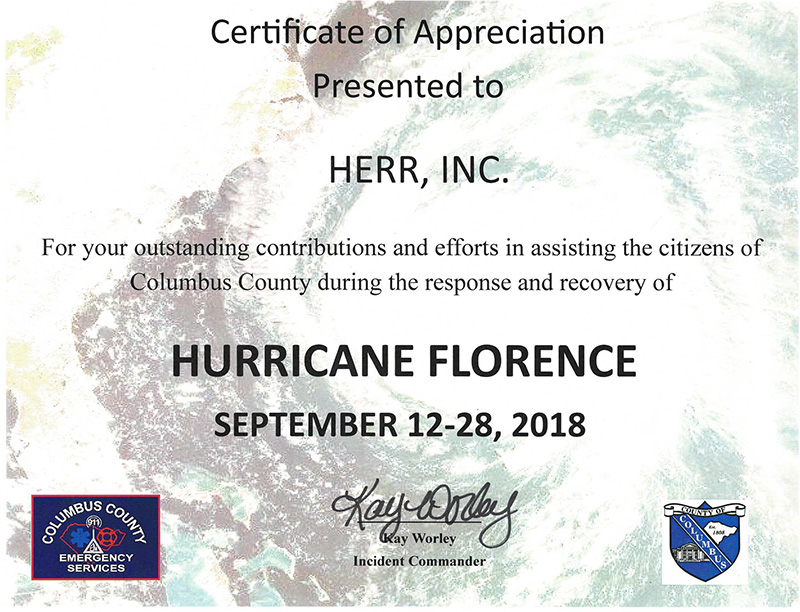 Columbus County Certificate